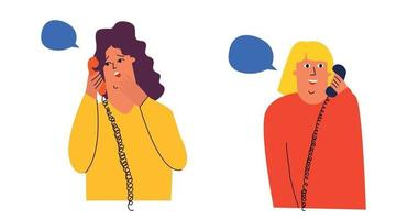 Two girls are talking to each other on the phone. Gossip vector