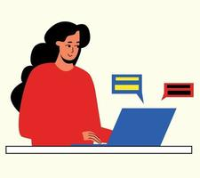 The girl is working at the computer. The concept of remote work vector