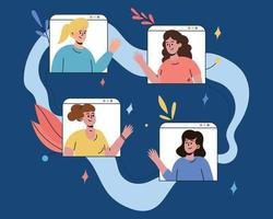 A group of friends communicates online. Video chat of friends vector