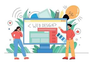 A man and a woman are engaged in website design. Web designers vector