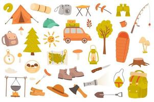 Camping and hiking isolated objects set vector