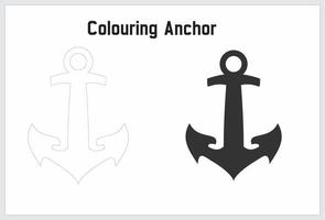 colouring anchor for kid vector