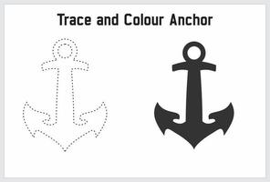 trace and colour anchor for learn tracing and colouring vector