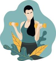 Brunette with long hair holds dumbbells in a cloud with leaves.Fitness vector