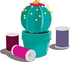 Cute green cactus flower pot cactus and spools of thread vector