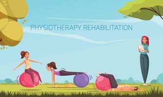 Outdoor Rehabilitation Exercises Composition vector