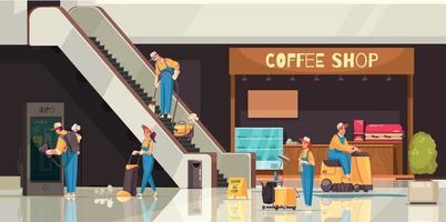 Shopping Mall Cleaning Composition vector
