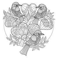 Birds and hearts hand drawn for adult coloring book vector