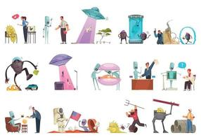 Alien Doodle Icon Set vector