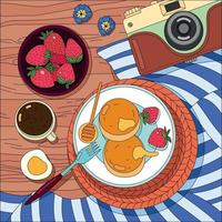 Coloring Breakfast Background vector