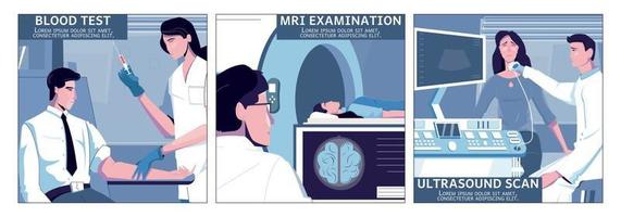 Medical Examination Square Compositions vector