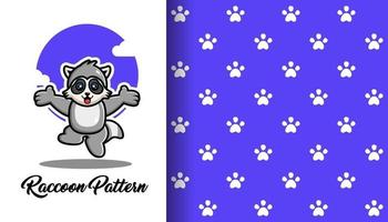 Cute raccoon with paw seamless pattern vector