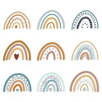 A collection of beautiful rainbows in the boho style vector