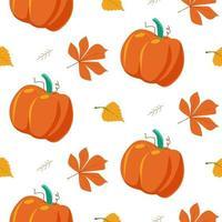 Seamless autumn pattern of pumpkins vector