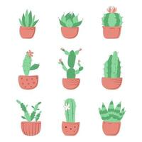 Collection of homemade cactus flowers vector