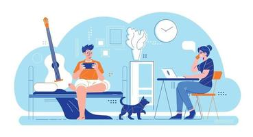 Couple Daily Routine Composition vector