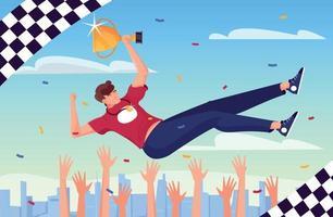 Hands Thrown Winner Composition vector