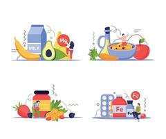 Vitamins In Products Concept Icons Set vector