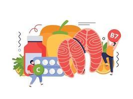 Vitamins In Food Concept vector