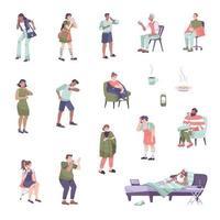 conjunto de iconos de síntomas de resfriado vector