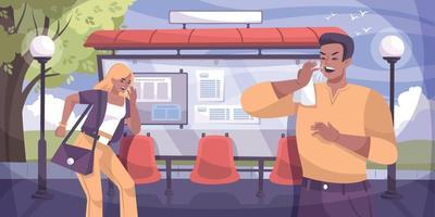 composición para toser parada de autobús vector