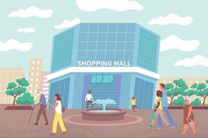 City Shopping Center Flat Background vector