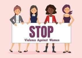 Women hold sign 'STOP Violence Against Women'. vector