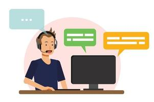 call center concept, male call center agent is answer customer vector