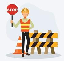 male engineer is holding STOP sign for warning under construction area vector