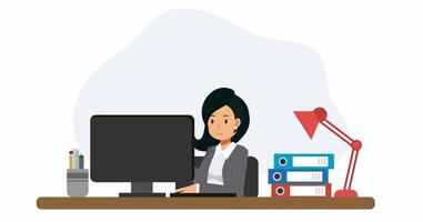 Business woman working at office desk with PC. vector