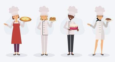 woman Characters Chef Cooking and Serving Food , vector