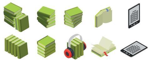 conjunto de iconos isométricos de libros vector