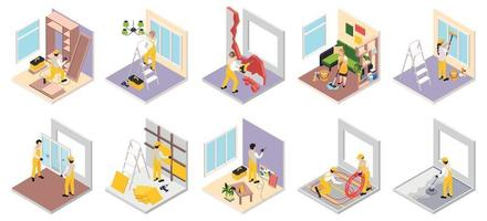 Renovation Works Isometric Collection vector