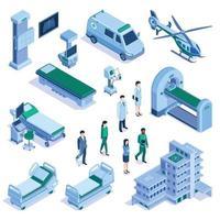 Hospital Isometric Set vector