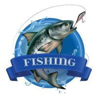 Fishing Realistic Logo vector