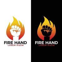 mano de puño dentro del logotipo de fuego ardiente, gráfico de vector de mano de fuego.