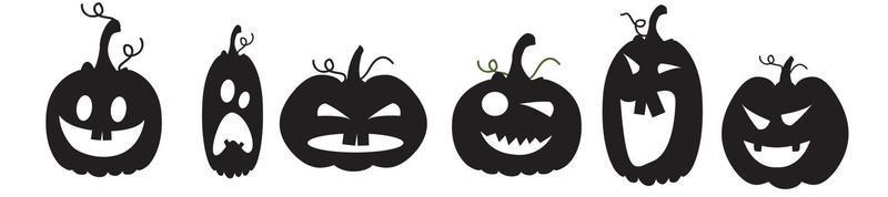 Black silhouettes of pumpkins for Halloween. Icons of emotions vector