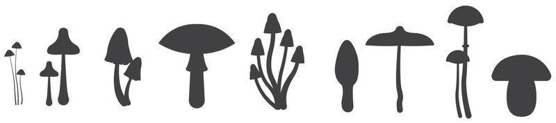 Nine mushroom silhouettes. Vector illustration