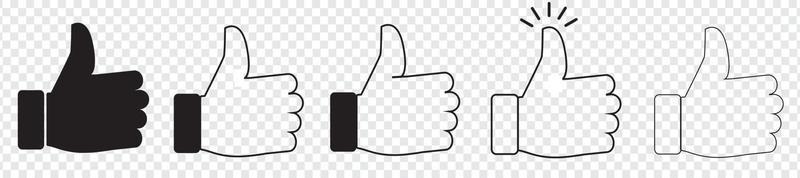 thumb up icon set, like sign, like symbol vector