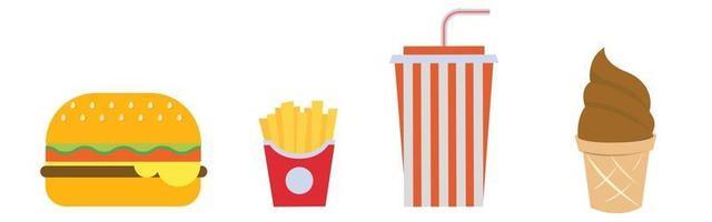 Set of French fries, hamburger, soda and ice cream vector