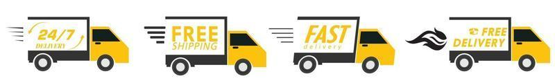 free delivery, Free shipping, 24 hour and fast delivery icons set vector