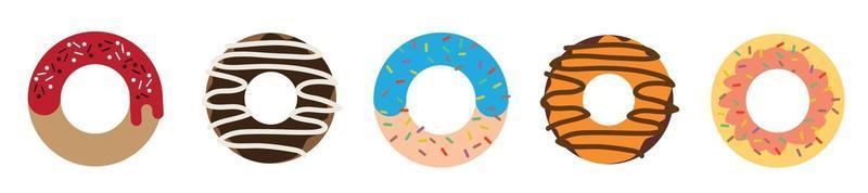 Donut vector set on a white background.