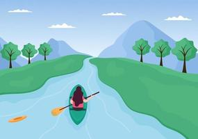 Rafting, Canoeing, Kayaking in the River Vector Illustration