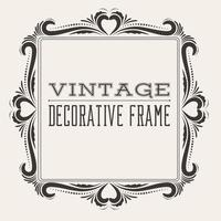Square vector vintage border frame with retro ornament pattern