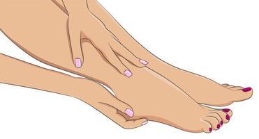Female legs barefoot, side view. Woman hands doing feet massage vector