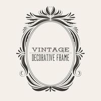 Oval vector vintage border frame with retro ornament pattern