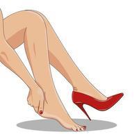 Slender female legs, sitting tired of high spike heels vector