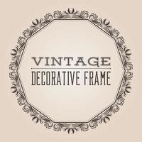 Round vector vintage border frame with retro ornament pattern