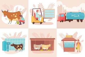 Dairy Production Design Concept vector