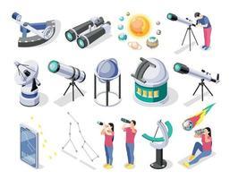 Conjunto de instalaciones de observación astronómica. vector
